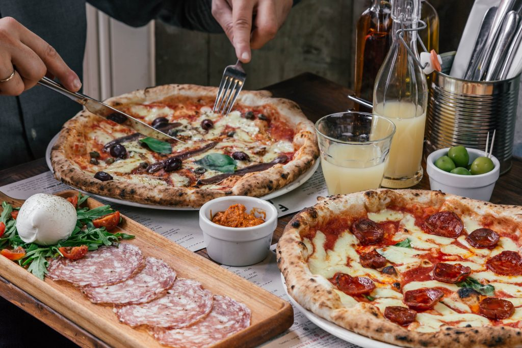 Franco Manca pizza table shot