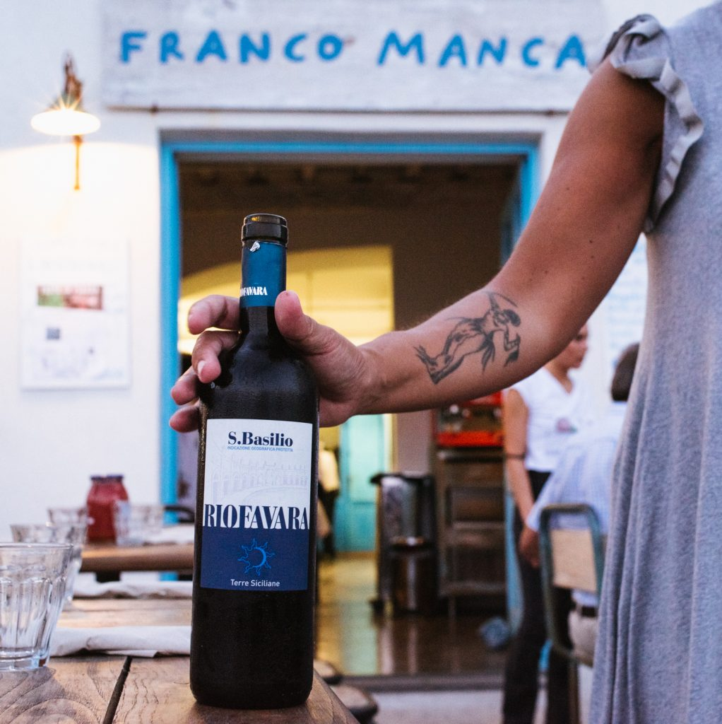 Franco Manca Salina wine and exterior
